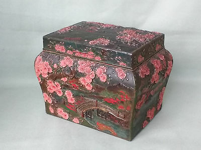 Antique / Vintage Japanese Tea Caddy Box. Relief Decorated, Prunus & Bridge
