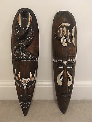 Pair of Beautiful Carved Wooden African Tribal Masks with Fish & Cobra Design