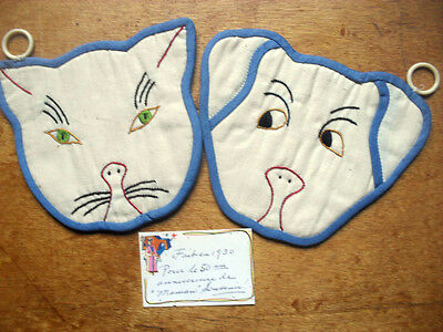 Set Of Two Adorable Handmade 1930  Antique Potholders*** Cat And Dog***