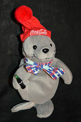 Coca Cola Advertising Bean Bag Plush Walrus in Coca Cola Scarf, Hat, w Bottle