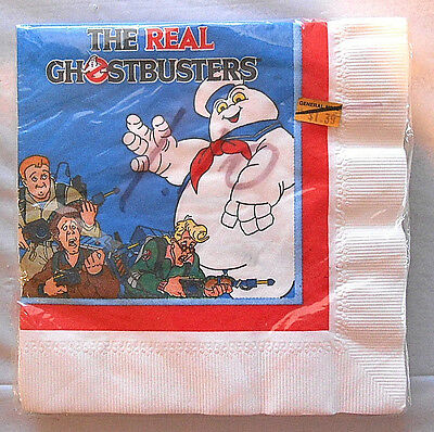 1986 The Real Ghostbusters Paper Party Napkins NIP Unopened Pkg of 16 *Sealed*