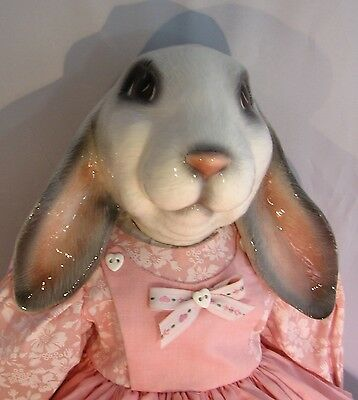 Ceramic Bunny in Pink Dress Hand Painted Soft Body 20 inches Tall Rabbit