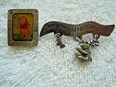 Disney 2 Pewter Winnie the Pooh Dan Forth Pins Time for a Little Something + Col