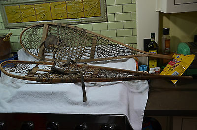 snowshoes leather bindings  beaver style old antique vintage