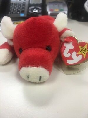 Snort The Bull TY Beanie Baby 1995 - Very Rare With Tags & Tag Errors
