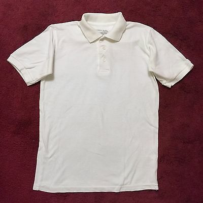 Authentic Galaxy Boys White Knit Polo Short Sleeve School Shirt Sz 12 Two button