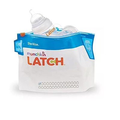 Munchkin Latch Microwave Sterilize Baby Feeding Bottles Bags 180 Uses 6 Pack New