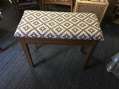 Wooden Piano Stool/storage Patterned Fabric On The Top