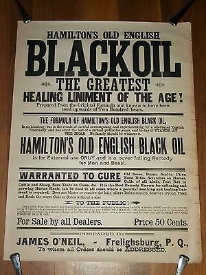 1800s BROADSIDE Paper SIGN Hamiltons OLD ENGLISH BLACK OIL Liniment CURE Beast