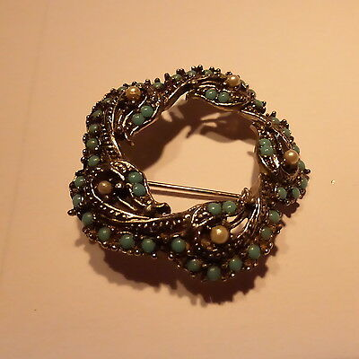 Vintage  Art Nouveau Pewter Brooch With Turquoise &pearls Floral Pattern