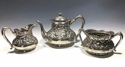 MF D Plated By Reed & Barton #3517  3 Pcs. Set - Tea Pot - Creamer - Sugar Bowl