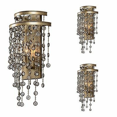 Three Silver Swedish Finish Metal Classic Wall Sconce Light Hanging Cut Crystal