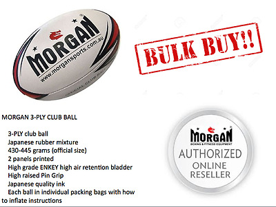 10x MORGAN Rugby League balls bulk buy NRL CLUB TEAM MINI MOD SENIOR Steeden CRL