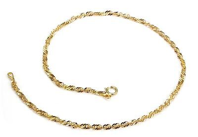 "New Hallmarked 9ct Yellow Gold Diamond Cut 2mm Twisted Curb Link 10"" Ankle Chain"