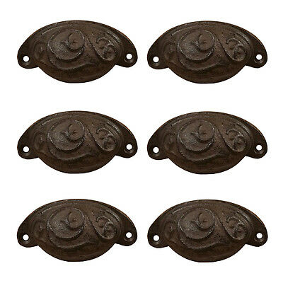 """Set of 6 Cast Iron Swirl Antique-Style Drawer Cabinet Pulls Cupped Handles 3.5""""L"""