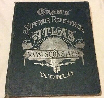 Antique Early 1900's Cram's Superior Reference Atlas of WISCONSIN & The WORLD