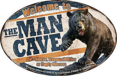 Welcome to the Man Cave Bear Door Lodge Vintage-Style Sign Decor 12 x 17""