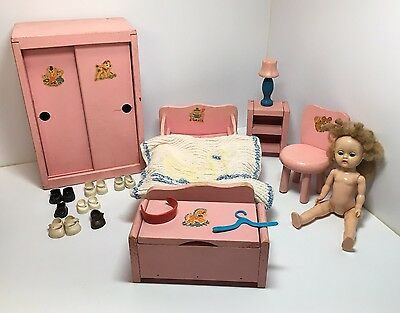Vintage Ginny Wood Doll Pink Bedroom Set, Ginny Doll, Shoes, Red Headband 1950s