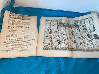 John Ogliby Map Carmarthen To Cardigan With Bearing Points Page