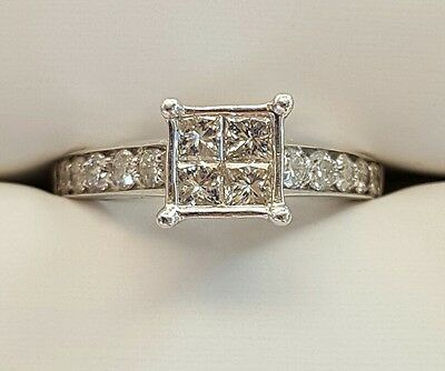 Genuine 100% 9Ct Solid White Gold 1.00Ct Diamond Engagement Ring