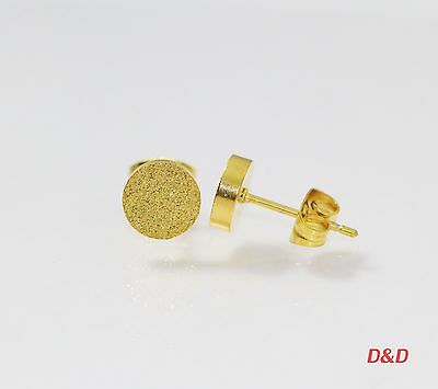 7mm 18K Gold 316L Surgical Stainless Steel Round  Unisex Stud Earrings