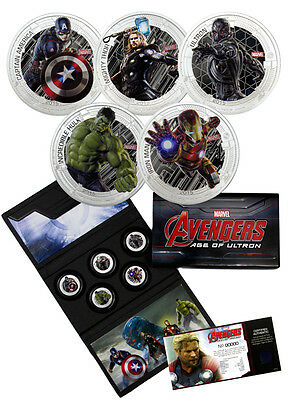 2015 Niue Silver MARVEL THE AVENGERS AGE OF ULTRON 5 Coin Set - SALE 10% OFF