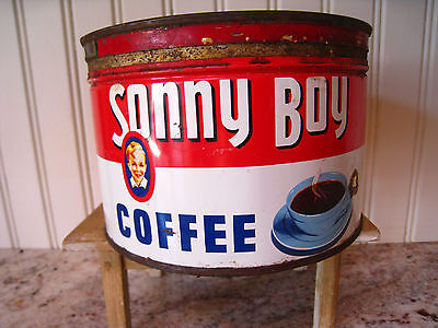 Vintage SONNY BOY Coffee Can Spokane, Wash by RoundUp Grocery Red, White & Blue