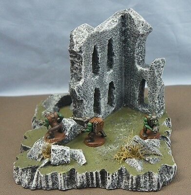 WARGAME Terrain Scenery Destroyed Building on Hill #3 Hand-Crafted Warhammer