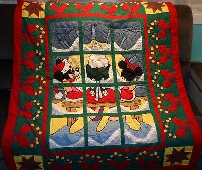 Disney Christmas American Pacific Quilted Blanket Throw Quilt Window Pane Design