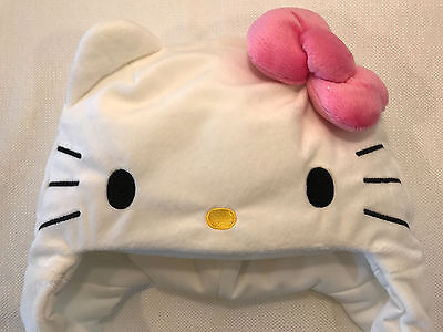 Rare Hello Kitty Sanrio Plush Face Head Trapper Hat w Earflaps, 2011 NEW IN PACK