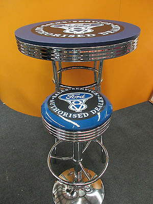 Ford V8  Bar Set  2 X  Chrome Gas Lift Stools & Bar Table