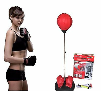 Punching Boxing Bag Free-Standing with Bounce-Back Base w Gloves & Pump Adult