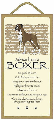Advice from a Boxer Inspirational Wood Puppy Dog Sign Plaque Made in USA