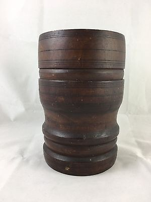 Vintage Natural Wood Chinese Asian Export Brush Pot Brown