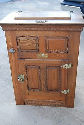 Oak 1886 Antique Ice Box, Brass Hardware, Polar Bear, Great Condition