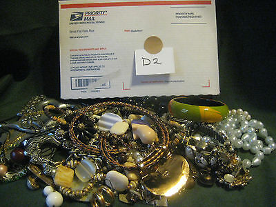Junk drawer JEWELRY LOT D2 broken vtg upcycle harvest repair charms 1 lbs 13 oz