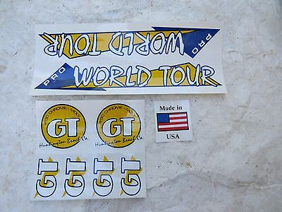 """Gt 20"""" Pro World Tour Yellow Repro Decals Bmx  Stickers"""