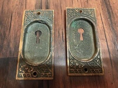 Antique Pocket Door Handle Pull w/ Key Hole MATCHING SET