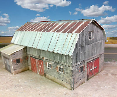 N Scale Building - Rustic Barn Coverstock Pre Cut Kit PAPER KIT