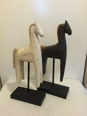 Hand Carved Painted Wood Folk Art Primitive Horses on Wood Bases Sculpture