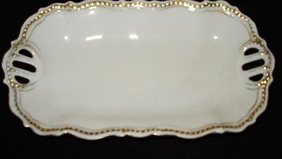 Vintage Silesia butter dish with gold trim