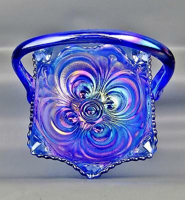 CARNIVAL GLASS - SMITH GLASS SCROLL EMBOSSED REPRO Cobalt Blue Basket 3723