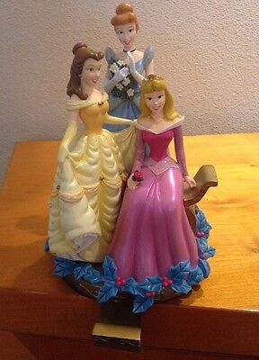 DISNEY PRINCESSES RESIN CHRISTMAS STOCKING HOLDER Belle, Aurora, Cinderella