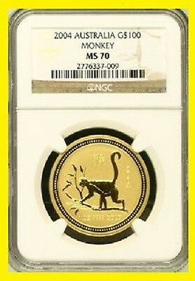 2004 Chinese Lunar Year of the MONKEY NGC MS 70 AUSTRALIA 1 OZ 9999 GOLD