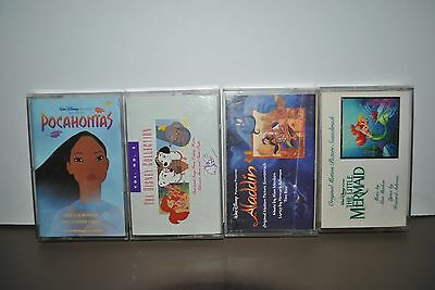 Disney Soundtracks Cassettes Lot of 4 Pocahontas, Mermaid, Aladdin and Collect