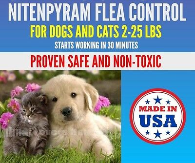 100 Capsules Flea Treatment, 12mg Cats Dogs 2-25 lbs, FAST Flea Protection