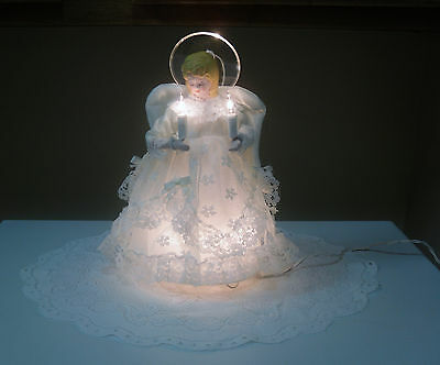 Lighted blond Angel Christmas Tree Topper 10 Clear Lights White Lace Gown