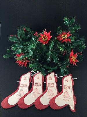 Lot 4 Vintage Christmas Honeycomb Paper Bells 2 Strands Poinsettia Holly Garland