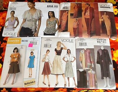 Lot of 5 Vogue Sewing Pattern Dress Pant Top Marcy Tilton Anna Sui 18 20 22 Size