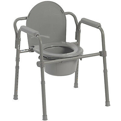 Folding Bed Side Commode Portable Toilet Seat Bucket Container Adult Potty Aid